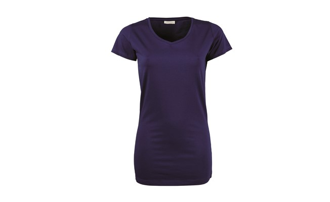 Stretch dames t-shirt - indigo blauw