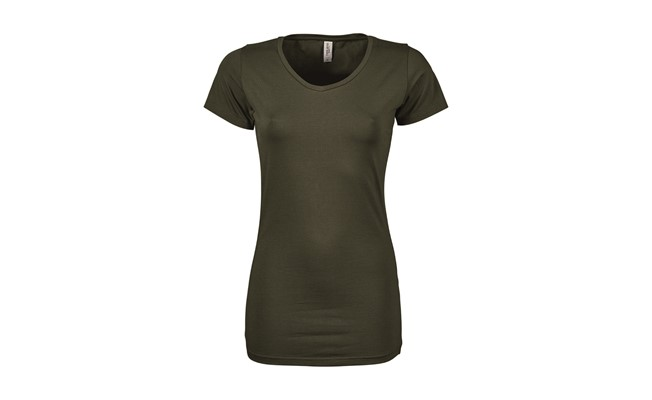 Stretch dames t-shirt - leger groen